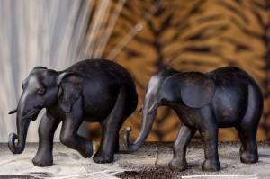 Deko Elefanten, 2-teiliges Set, 16,5 + 16 cm, braun