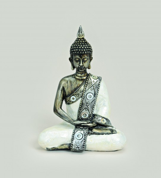 thai buddha figur sitzend 21 cm wei silber. Black Bedroom Furniture Sets. Home Design Ideas