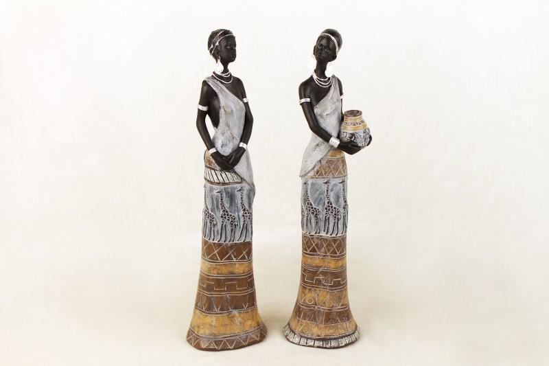 Deko afrikafrauen 2 teiliges set 11 x 10 x 40 cm grau braun