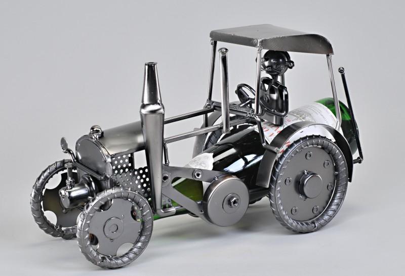 Flaschenhalter aus metall traktor 36 cm for Gartendeko blechfiguren