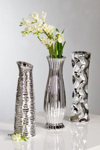 deko vasen diverso 3 teiliges set 33 cm silber. Black Bedroom Furniture Sets. Home Design Ideas
