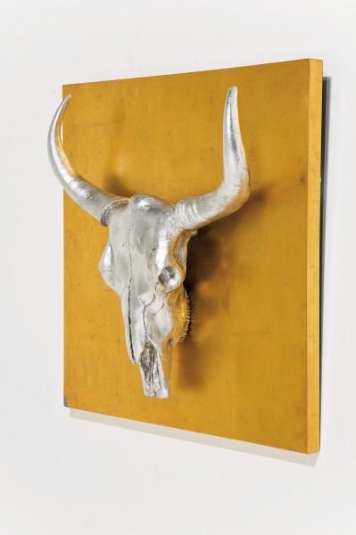 wandschmuck bison 80 x 80 x 19 cm silber gold. Black Bedroom Furniture Sets. Home Design Ideas